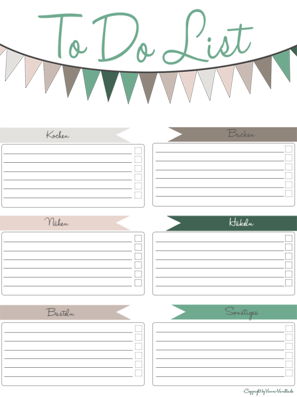 Freebie To Do List Vanni Vanilla